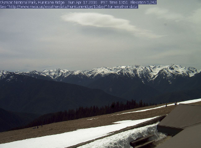 Olympic National Park webcam view of Hurricane Ridge with snow on April 17, 2016