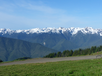 View of the Olympic Mountains from the road up to Hurricane Ridge