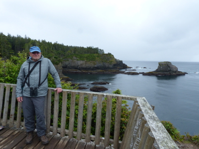 The crashing waves, rugged shoreline, sea stacks, and islands teeming with seabirds are shown here with participant standing on the Cape Flattery platform