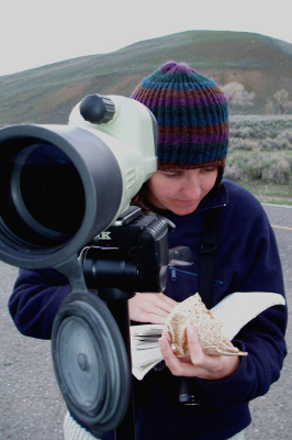 View through the spotting scope of birding guide Carolyn Wilcox who is studying her bird guide with a quesadilla