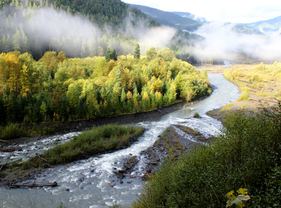 A long-stretch of Elwha River as seen through sun and low lying clouds as well as fall color