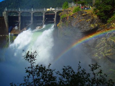 Glines Canyon Dam spillway (now decommissioned) with rainbow across the canyon