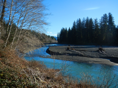 View of the glacier-fed Hoh River in winter