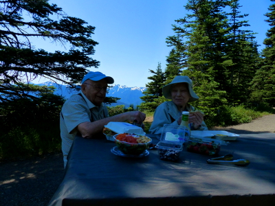 Two participants sit smiling eating their lunch on a picnic table with the Olympic Mountains in the background