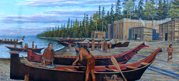 A mural on the city pier in Port Angeles depicts Klallam people in traditional garb, depicting the importance of their canoes, with wood long houses and a healthy forest and shoreline in the background