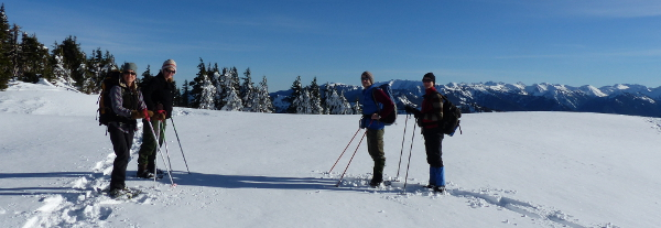 Four people on snowshoes take a moment to pose with the Olympic National Park snow-capped mountains in the background
