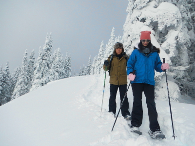 A couple snowshoes in fresh snow on a Hurricane Ridge trail bordered by trees laden with fresh snow