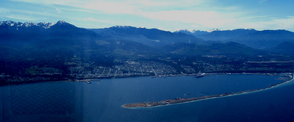 View from the air of Port Angeles, Ediz Hook, and the Olympic Mountains