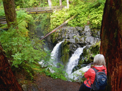 A participant take a photograph of Sol Duc Falls