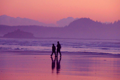 Two hikers and their shadows on Hobuck beach at sunset