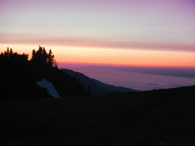Sunset as seen on Hurricane Ridge with the Strait of Juan de Fuca in the background