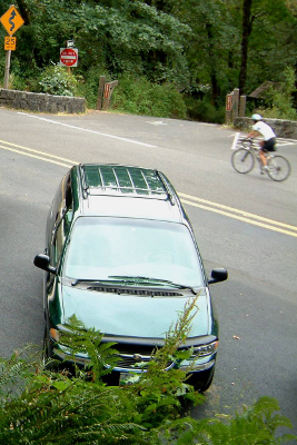Parked minivan in a wooded setting on the Olympic Peninsula