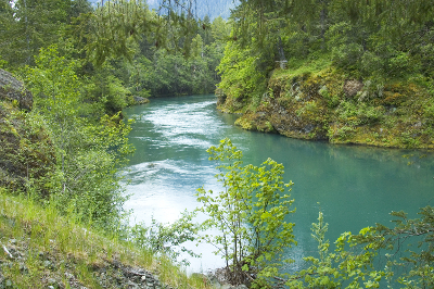 Turquoise blue Elwha River pooling and narrowing in a small canyon
