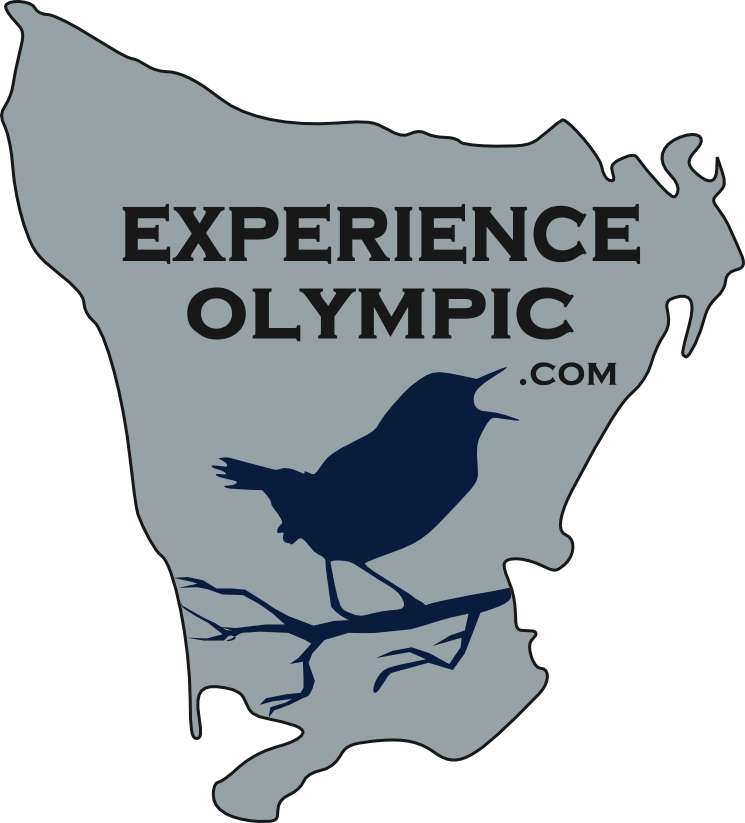 Experience Olympic logo shows an outline of the entire Olympic Peninsula and states:  ExperienceOlympic with .com coming out of the mouth of a blue silhouetted Pacific Wren